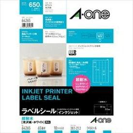 エーワン ラベルシール[インクジェット]超耐水タイプ光沢紙 A4判 65面 64265 取り寄せ商品