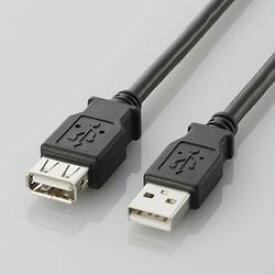 【P5E】エレコム USB2.0準拠 延長ケーブル Aタイプ 0.5m(ブラック) U2C-E05BK(U2C-E05BK) メーカー在庫品
