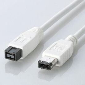 エレコム IEEE1394b/FireWireケーブル 9pin-6pin/1.0m IE-961WH メーカー在庫品