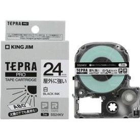 キングジム SS24KV テプラPROテープ屋外に強い白/黒文字 取り寄せ商品