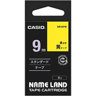 It is lindera XR-9YW maker stock in the CASIO COMPUTER Co., Ltd. name land tape 9 millimeters yellow place