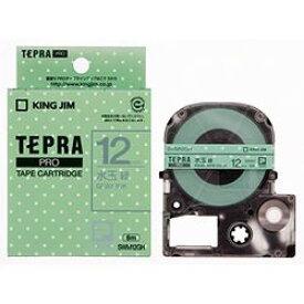 キングジム PROテープ 水玉緑/グレ-文字 12mm SWM12GH 取り寄せ商品