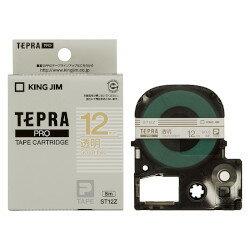 キングジム PROテープカートリッジ 透明ラベル 12mm幅 透明/金文字 ST12Z 目安在庫=○