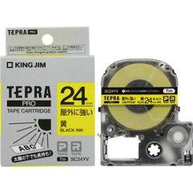 キングジム SC24YV テプラPROテープ屋外に強い黄/黒文字 取り寄せ商品