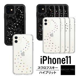 iPhone 11 ケース クリア / ブラック スワロフスキー キラキラ ラインストーン 薄型 スリム カバー シンプル おしゃれ スマホケース レディース 女性 女子 かわいい スマホカバー [ Apple iPhone11 アイホン11 アイフォン11 対応 ] Bling My Thing MILKY WAY