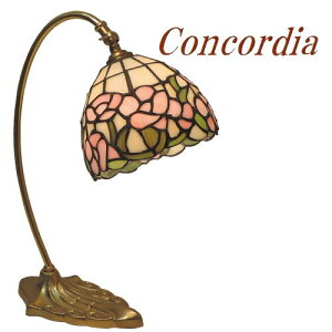 【TB117+573/TIF】テーブルランプ アンティーク調 真鍮製 スワンネック ステンドグラスのランプシェード バラのデザイン 安定性あり ベッドサイドも可 暖かな光