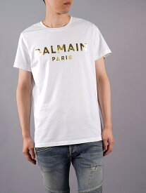 Balmain Homme / バルマン オム / White Cotton T-shirt Gold Balmain Paris Metallic Logo / ブラック コットン Tシャツ ゴールド バルマン パリ メタリック ロゴ (ブラック) 21春夏 国内正規取り扱い