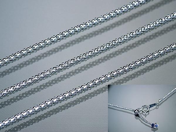 ネックレス K18WG ホワイトゴールド バーバリーチェーン1.3mm×45cmフリーアジャスター付きネックレス