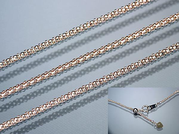 ネックレス K18PG ピンクゴールド バーバリーチェーン1.3mm×45cmフリーアジャスター付きネックレス