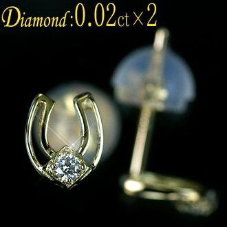 鑽石無環耳環K18YG黄色黄金天然金剛石1石頭*2計0.04ct馬蹄鐵(馬蹄)型無環耳環Outlet