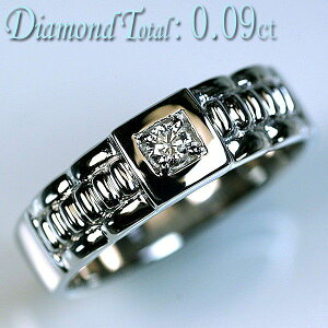 【クーポンご利用で全品10%OFF! 7/26 01:59まで】メンズ ダイヤモンド リング Pt900 プラチナ 天然ダイヤモンド 1 石計0.09ct 送料無料