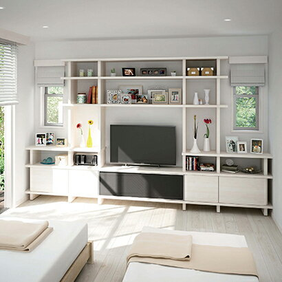 メーカー直送 送料無料 受注生産品 ダイケン システム収納 フィットシェルフ [PLAN01 TVボードプラン] 収納棚 インテリア