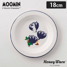 MOOMIN ムーミン&フラワー 18cm プレート MTA-18PL 富士ホーロー【Honey Ware ハニーウェア/ホーロー/琺瑯/食器/丸皿/キャラクター グッズ】