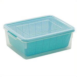 ざる+コンテナ ざるコン角型 42.6×33.2×深さ15.4cm グリーン (ZC-2) プラスチック製/水切り ストレーナー 食器 フタ付き ケース 冷蔵保存用 プラスチックざる 011487001