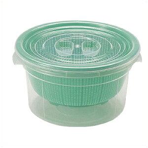 ざる+コンテナ ざるコン丸型 Φ39.6cm×深さ21.8cm グリーン (ZC-1) プラスチック製/水切り ストレーナー 食器 フタ付き ケース 冷蔵保存用 プラスチックざる 011487002