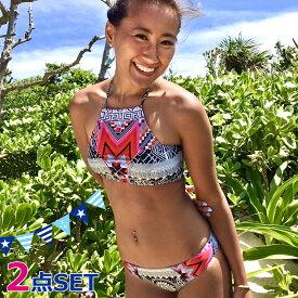 水着 レディース ビキニ ホルターネック オトナ女子 2点セット アフリカン模様 エスニック