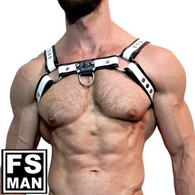 男性用イタリア本革ハーネス メンズ レザー ボンテージ コスプレ ステージ パーティ Gogo 衣装 FS Man エフエスマン ハーネスBulldog White(fs-h016)