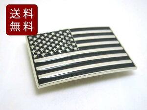 アメリカ国旗 バックルのみ ベルト無し メタル モノクロ 10cmX6.5cm DM便発送