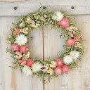 ドライフラワー 玄関 春 リース アジサイ ギフト草原で見つけた妖精の花冠 Coquelicot_pink ドライフラワーリース 赤 …