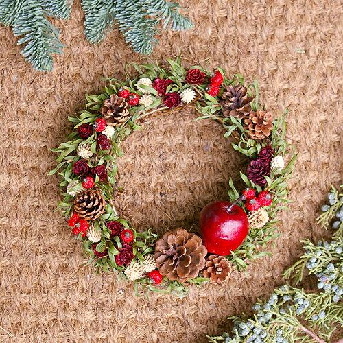 クリスマスリース リース カントリーナチュラル 赤いリンゴと松ぼっくりのリース