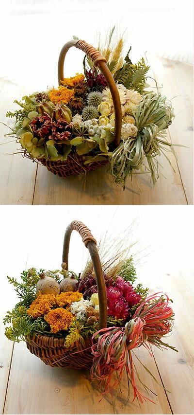 ギフト/ナチュラル ドライフラワー カントリー バスケット アレンジ  花かごにドライフラワーがいっぱい お好みの色合いで製作します 【楽ギフ_包装】 【楽ギフ_のし宛書】 【楽ギフ_メッセ入力】
