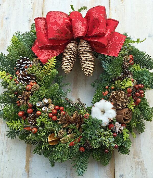 クリスマスリース リース クリスマス 玄関 フレッシュオレゴンモミの本格クリスマスリース Mサイズ 直径30cm