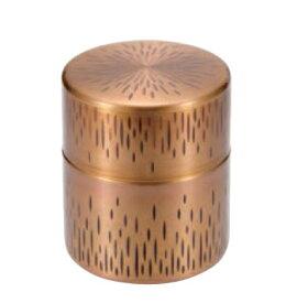 縦目茶筒(大太)銅 黄金被き仕上げ 送料無料 COPPER100 新光金属 新光堂