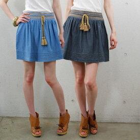 SESSUNセッスンレディス コットンシャンブレー刺繍ミニスカート (春夏)【正規品】  【50】【メール便可】