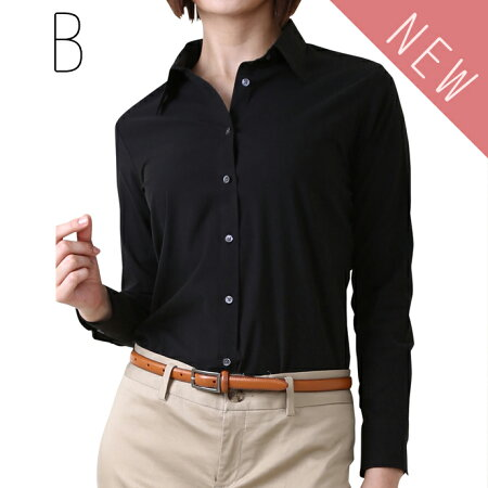 ワーキングシャツ(ストレッチ)(白シャツ・ブラウス/レディースシャツ/定番/無地/オフィス/七分袖/ストレッチシャツ/制服)