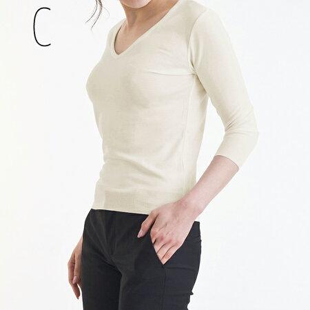 レディースカットソー7分袖Vネックトップ(レディースカットソー/定番/無地/白/黒/オフィス/七分袖/制服)