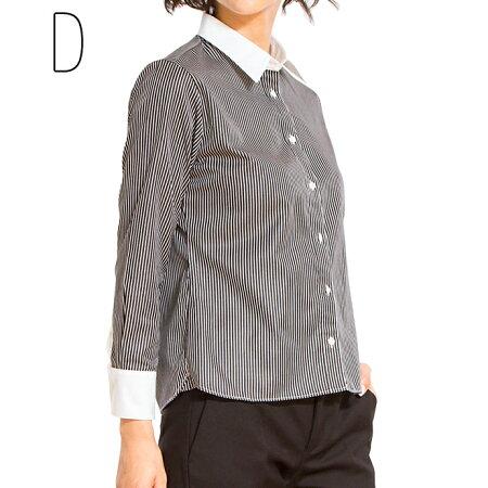 【新商品】ボトムアウトで着るアウト専用シャツショートシャツ(ブラウス白シャツ長袖ブラウスレディース無地オフィス長袖シャツリクルート制服ブラウス)