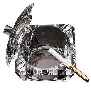 Felimoa クリスタルガラス製蓋付き灰皿 卓上用 灰皿 煙草 インテリア