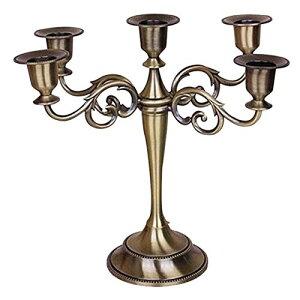 フェリモア キャンドルスタンド 燭台 5本立て アンティーク調 キャンドルホルダー クリスマス 蝋燭 (アンティークゴールド)