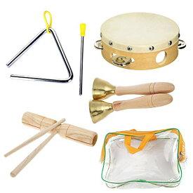 フェリモア 楽器セット パーカッション 木製 おもちゃ 子供 打楽器 タンバリン トライアングル