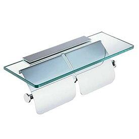 フェリモア トイレットペーパーホルダー ガラス棚付 ペーパーホルダー 収納 片掛タイプ (2連)