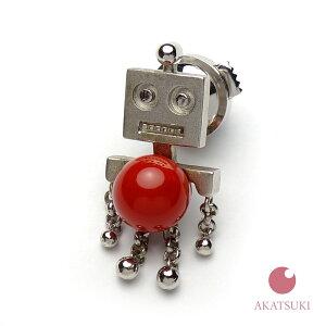 【最高級】【血赤】【一点物】日本産赤珊瑚 7.8mm丸玉 SILVER ラペルピン ピンブローチ タックピン メンズ プレゼント 還暦祝 シルバー 血赤珊瑚 濃い赤 オックスブラッド ジュエリー