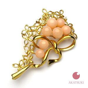【一点物】ピンク珊瑚 花 リボン 5.4〜6.5mm K18 ブローチ 3月の誕生石 お守り サンゴ coral 結婚35周年 珊瑚婚 出産祝い ゴールド 18金 ジュエリー アクセサリー 女性用 レディース