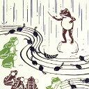【水無月 上 5/16〜6/15までメール便送料無料】気音間 注染手ぬぐい 雨音コンサート【メール便可】蛙/カエル/梅雨/6月/音楽/オーケストラ【父の日】