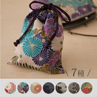 DrawString bag retro flower Japanese pattern 25 x 19 cm / nokyo-sho book bag / nokyo-sho book case / pouch / women's / men's / yukata / large / small 信玄袋