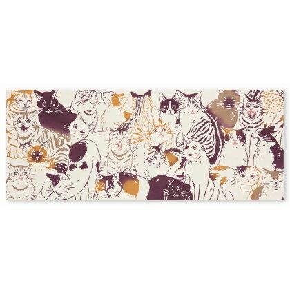 【ネコポス可】 気音間 手ぬぐい 猫づくし 注染 特岡 綿100% 日本製 ねこ 動物 猫 人気 ネコ ギフト ペット キャット 36×90cm 無蛍光晒し ギフト 贈り物