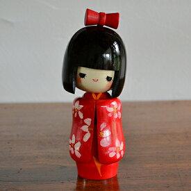 卯三郎こけし 乙女袖 赤 創作こけし KOKESHI/Japanese/Doll/Traditionl/こけし/コケシ/日本/人形/伝統/和/和雑貨