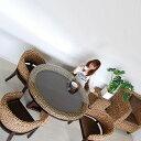 送料無料 ウォーターヒヤシンス【ブラウン#12】 ダイニングテーブル アジアン家具 アジアン テーブル ダイニング ラタン ガラス 食卓 …