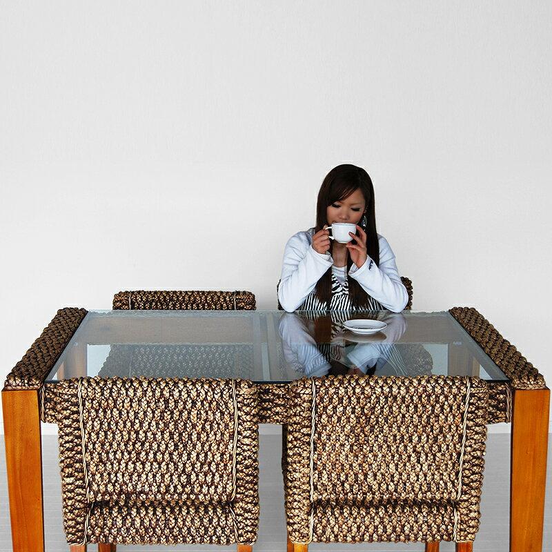 ★送料無料 ウォーターヒヤシンス【ハニー#01】 ダイニングテーブル アジアン家具 アジアン テーブル ダイニング ラタン ガラス 食卓 カフェ 北欧 2人用 4人用 モダン 籐製 バリ リゾート ★送料無料