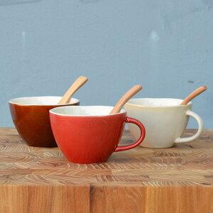 ほっくりスープカップwithスプーン 全3色 KINTO スープボウル シリアルボウル 取っ手付き ハンドル 鉢 お椀 お碗 食器 テーブルウェア ホワイト ブラウン レッド 北欧風 ラウンド 丸型 食洗機可