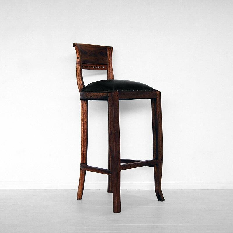 送料無料 !!チーク【イタリー】バースツール アジアン家具 アンティーク 木製 チェア 椅子 いす カウンターチェア バーチェア アンティーク調 バリ レザー