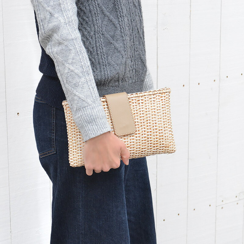 送料無料 ラタン・クラッチバッグ(R-CL03-WT)カバン 鞄 かばん bag バッグ ハンドバッグ かごバッグ カゴバッグ ショルダーバッグ 籠バッグ ラタン 籐 レザー 合皮