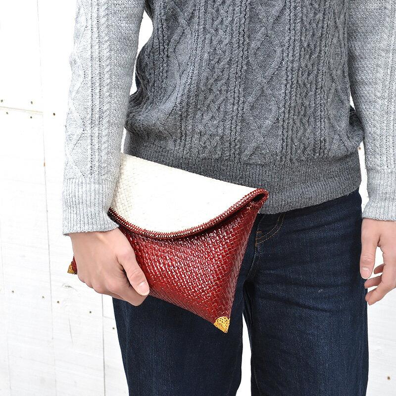 送料無料 ラタン・クラッチバッグ(P-CL01-MR)カバン 鞄 かばん bag バッグ ハンドバッグ かごバッグ カゴバッグ ショルダーバッグ 籠バッグ ラタン 籐 レザー 合皮