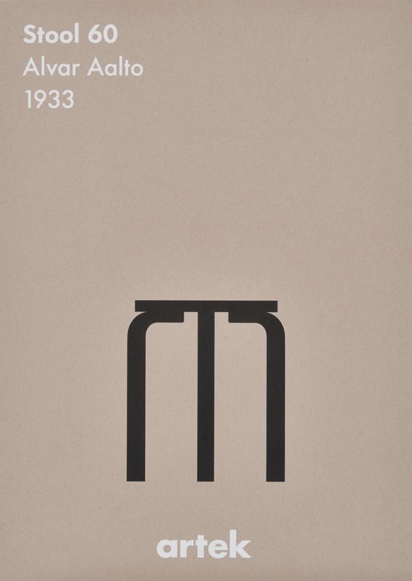 ◇ ポスター 北欧 おしゃれ モノクロ ウォールデコ アルテック Artek インテリア stool 60 BK スツール60 50×70cm 【ギフト】