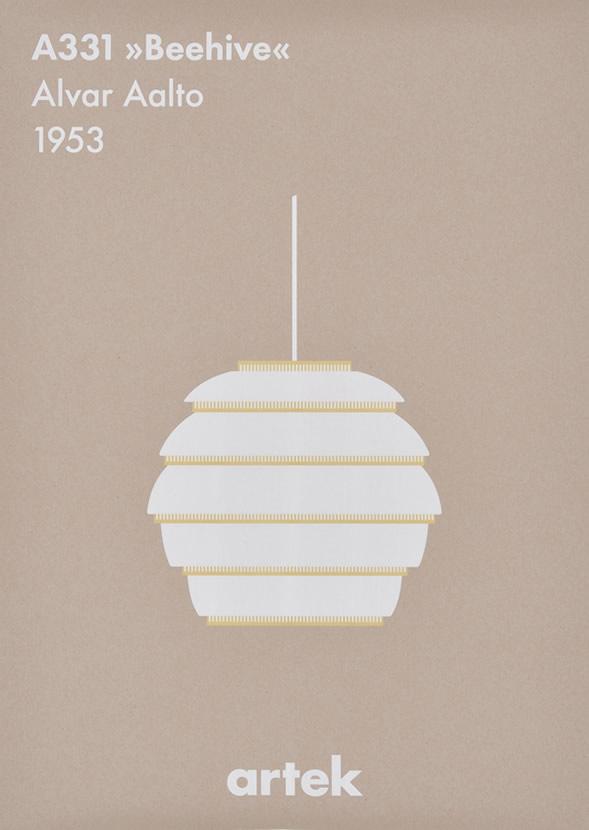 """◇ ポスター 北欧 おしゃれ モノクロ Artek アルテック A331 pendant """"Beehive"""" ビーハイヴ ポスター 50×70cm 北欧デザイン 北欧インテリア【ギフト】"""