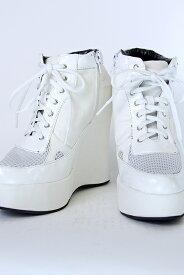 厚底スニーカー 13cmヒール 【白 ホワイト】 レディース 厚底 スニーカー セーラー服 制服 コスプレ 靴 ハロウィン 学生 コス